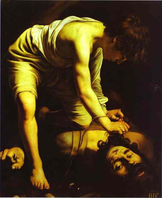 David com a Cabeça de Golias. c.1601-1602. Óleo sobre tela