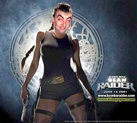 Mr Bean Tomb Raider Montagens de Fotos Mr. Bean photoshop