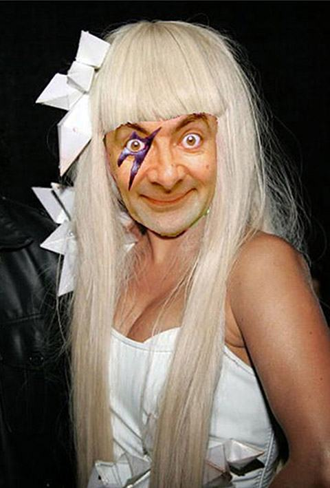 Mr Bean lady gaga Montagens de Fotos Mr. Bean photoshop