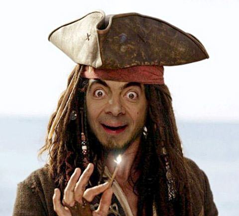 Mr Bean piratas do caribe Montagens de Fotos Mr. Bean photoshop