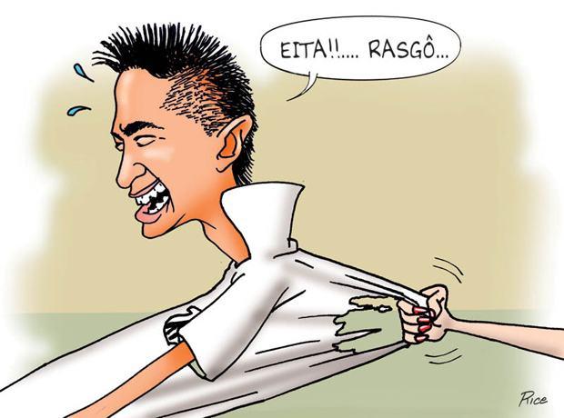 Neymar rasga a camisa