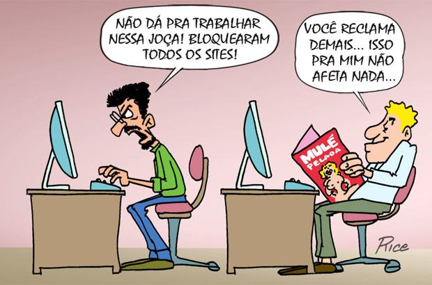 Bloqueio de sites nas empresas: charge