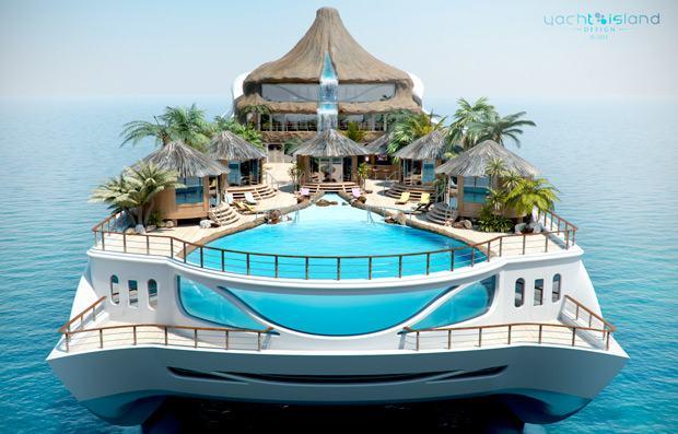 Ilha paradisíaca dentro de um iate: Yacht Island