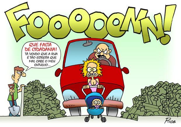 Trânsito em caus: obras, sem educação, repeito… Charge